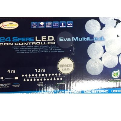 24 Sfere EVA Multi LED, Catena luminosa con 24 Sfere Bianche LED con controller