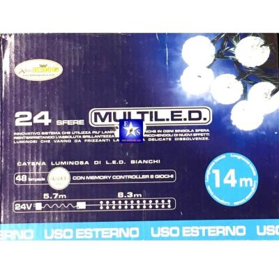 Catena luminosa 8,3 Metri con 24 Sfere con Multi LED di colore Bianco per Uso Esterno