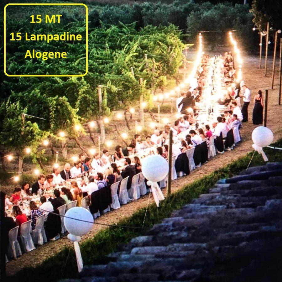 Catena Luminosa Per Foto catena luminosa catenaria 15 metri con 15 lampadine