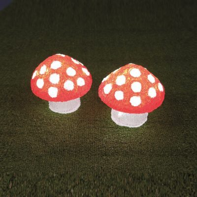 Fungo Acrilico Color 20 LED BIANCO Luce Fissa Timer 6-18 ore a Batteria Esterno 16xH15cm