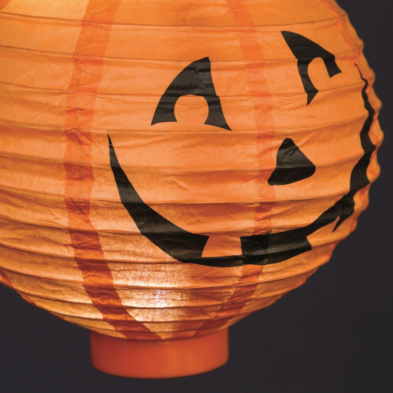 Lanterna di carta zucca halloween arancio 20 cm bianco for Zucca halloween luminosa