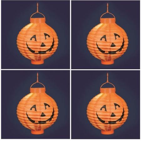 Confezione da 4 Lanterne zucca Halloween Ø 20 cm, luce bianco caldo