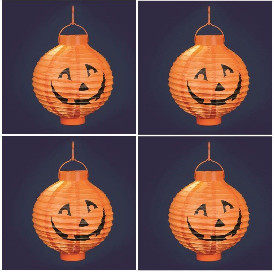 Confezione da 4 lanterne zucca halloween 20 cm luce for Zucca halloween luminosa
