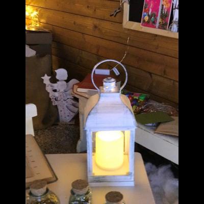 Lanterna Bianco Antico SW100-240 con Candela LED CLASSIC effetto Fiamma a Batteria Interno 10x10xH24cm