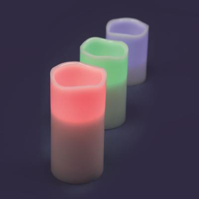 Set 3 Candele Ø7,5cm Bianche 1 LED RGB Telecomando IR a Batteria Interno H10/12,5 /15cm