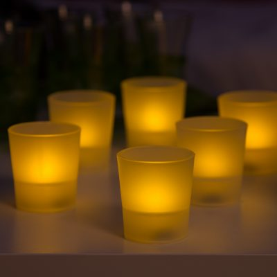 Set 6 Tea Light Bicchierino 1 LED CLASSIC Luce Fissa a Batteria Interno Ø5xH5,5cm