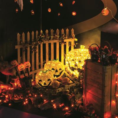 Zucca ACF Halloween 48 LED CLASSIC Luce Fissa e Flashing Timer 6-18 ore a Batteria Esterno 50cm+Ø22cm