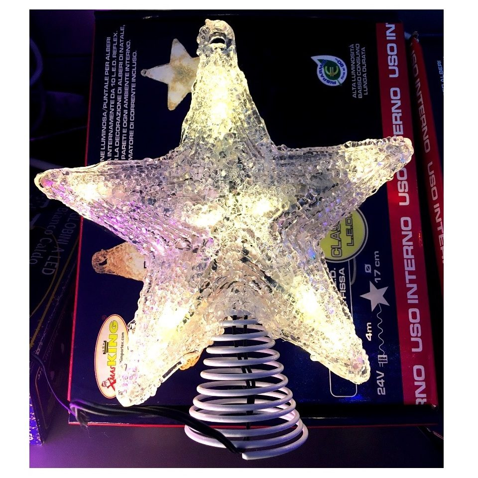 Stella Luminosa Di Natale.Stella Puntale Luminosa 10 Lampade Led A Luce Fissa Color Bianco Caldo