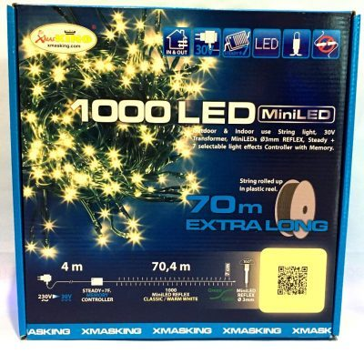 Catena luminosa, 1000 miniled bianco caldo