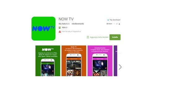 Dopo iOS l'app di Now TV è ora disponibile anche per Android