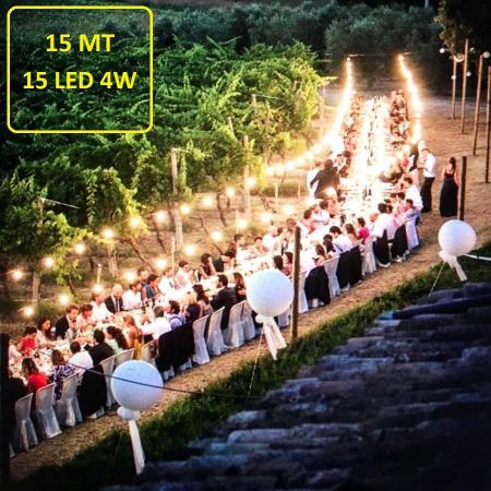 Catena Luminosa - Catenaria 15 Metri con 15 Lampadine a LED a filamento da 4W