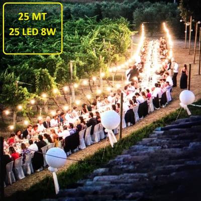 Catena Luminosa - Catenaria 25 Metri con 25 Lampadine a risparmio energetico a LED da 8W
