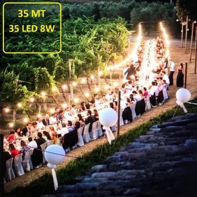 Catena Luminosa - Catenaria 35 Metri con 35 Lampadine a risparmio energetico a LED da 8W