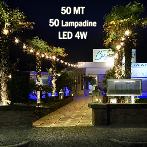 Catena luminosa catenaria 50 metri con 50 lampadine a - Cavo con lampadine da esterno ...