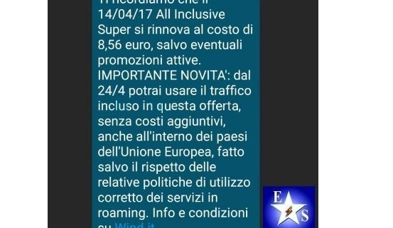 Wind elimina i costi di roaming in UE