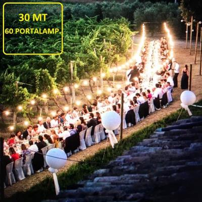 Catenaria di Lampadine da 30 Metri con 60 Portalampada
