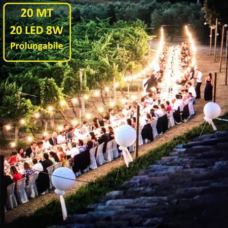 Catena Luminosa Catenaria 20 Metri con 20 Lampadine a LED a filamento da 8W Prolungabile