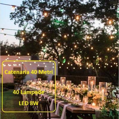 Catena Luminosa - Catenaria 40 Metri con 40 Lampadine a risparmio energetico a LED da 8W