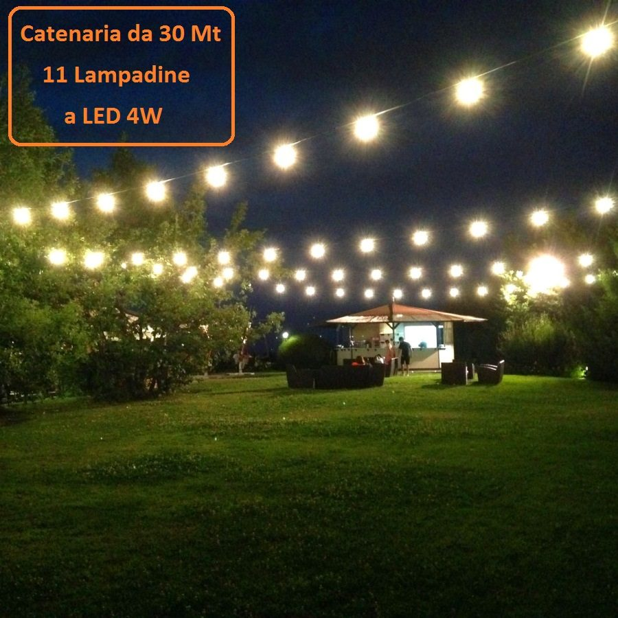 Catena luminosa catenaria 30 metri con 11 lampadine a led for Lampadine a filamento led