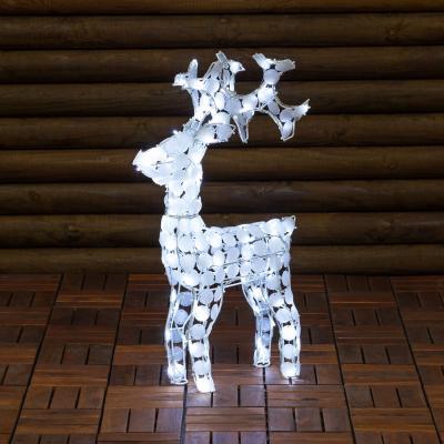 Renna Luminosa Con Cristalli Bianchi, 100 LED Bianco Freddo, h 70 cm