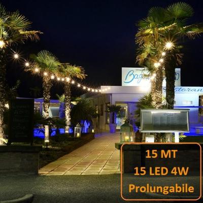 Catena Luminosa Catenaria 15 Metri con 15 Lampadine a LED a filamento da 4W Prolungabile