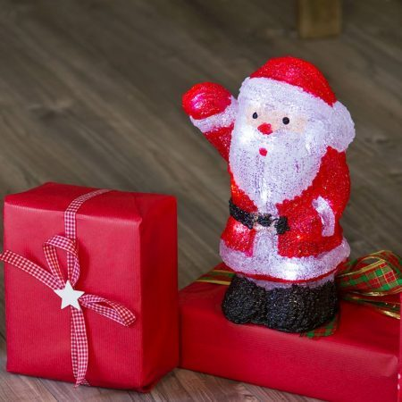 Babbo Natale 3D a batteria alto 27cm, 20 LED Bianchi