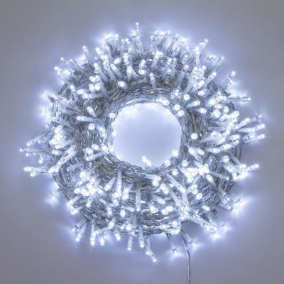 Catena Luminosa Nastro di Luce 30,5 M, 1.500 LED Bianco Freddo, 8 Giochi di Luce