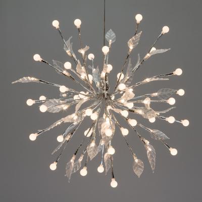 Ramo Decorato con Sfere e Foglie, Diametro 40 cm, 100 LED Bianco Caldo