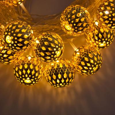 Catena 6 m, 24 Sfere in metallo con LED Oro, Luce Fissa