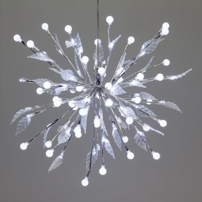 Ramo Decorato con Sfere e Foglie, Diametro 40 cm, 100 LED Bianco Freddo