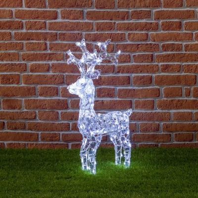 Renna Luminosa Con Cristalli Trasparenti, 100 LED Bianco Freddo, h 70 cm, Luce fissa