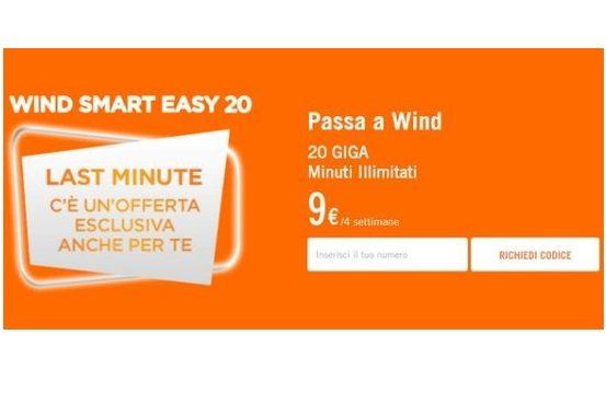 Wind Smart Easy 20: Minuti illimitati e 20GB a 9 euro ogni 28 giorni!