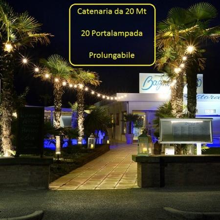 Catena Luminosa Catenaria 20 Metri con 20 Portalampada Prolungabile
