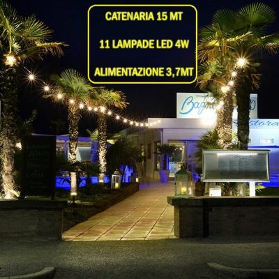 Catena Luminosa - Catenaria 15 Metri con 11 Lampadine a LED a filamento da 4W e alimentazione da 3,7 Mt