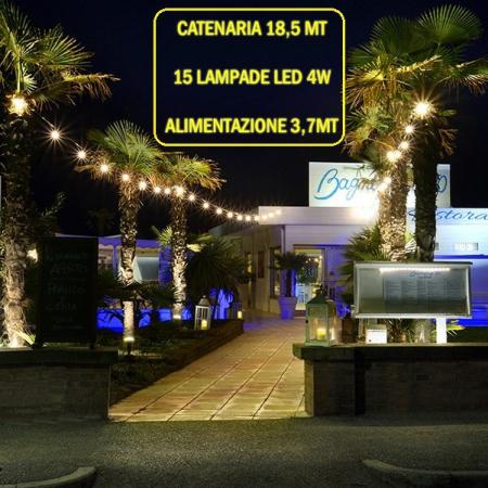 Catena Luminosa - Catenaria 18,5 Metri con 15 Lampadine a LED da 4W e alimentazione da 3,7 Mt