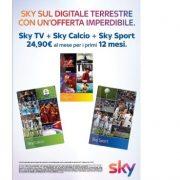 Sky sul digitale terrestre a soli 24,90 euro al mese!