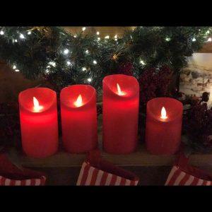 Candela rossa con effetto fiamma in movimento, led bianco caldo alta 10 cm, timer