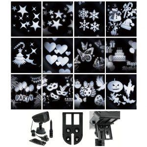 Proiettore LED Oscar con 12 Motivi Intercambiabili, LED bianco freddo