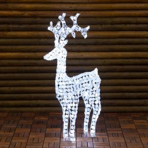 Renna Luminosa Con Cristalli Bianchi, 250 LED Bianco Freddo, h 120 cm