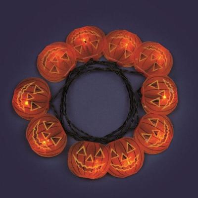Catena da 1,35m con 10 Zucche di Halloween a LED