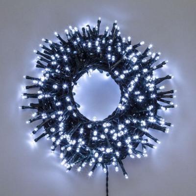 Catena da 60 m con 1500 LED Bianco Freddo, 8 Giochi di Luce, Non Prolungabile