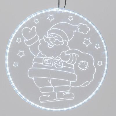 Disco Luminoso Babbo Natale con Sacco dei Regali con 60 LED, Bianco Freddo, Diametro 30 cm, Luce Fissa