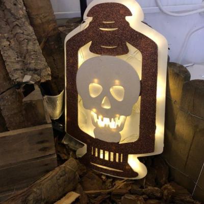 Lanterna Glitter con Teschio h 38 cm, 20 LED