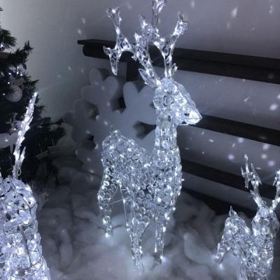 Renna Luminosa con Cristalli Trasparenti, h 120 cm, 250 LED colore Bianco Freddo