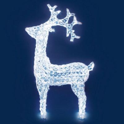 Renna Luminosa con Cristalli Trasparenti, h 90 cm, 200 LED colore Bianco Freddo