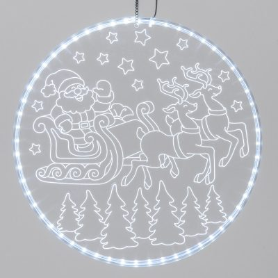 Disco Luminoso Babbo Natale con Slitta con 60 LED, Bianco Freddo, Diametro 30 cm, Luce Fissa