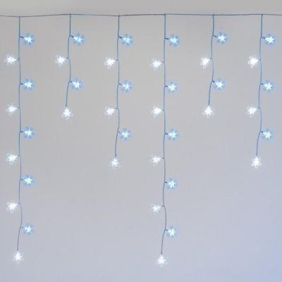 Stalattite 136 LED Fiocchi di Neve 3,75 x 1 m, Bianco Freddo & Blu